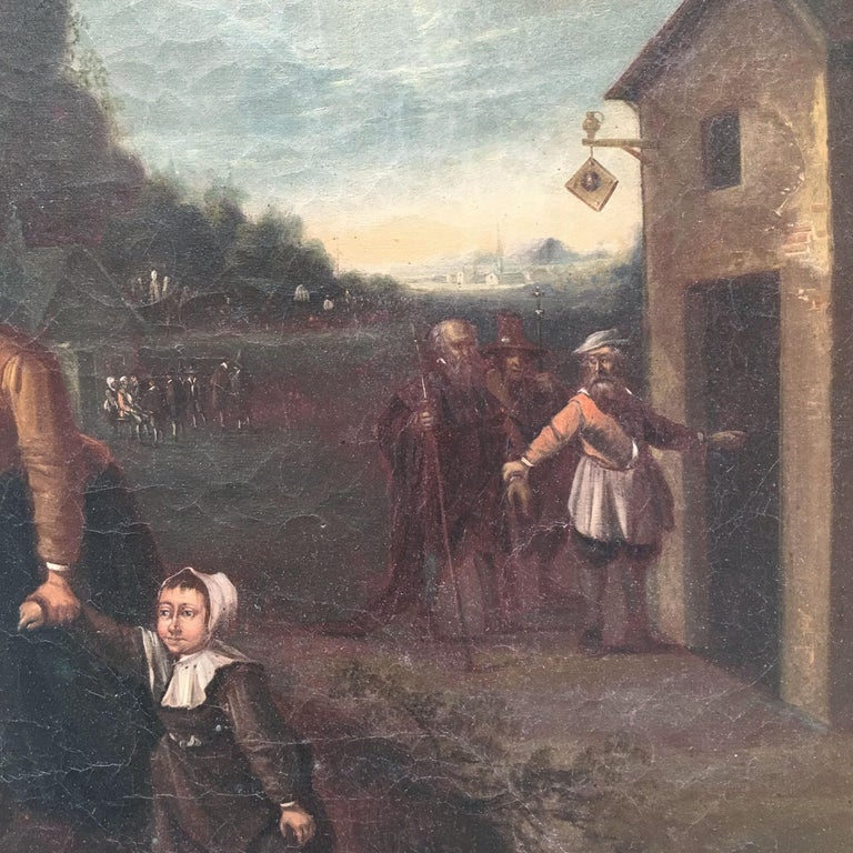 Mid-19th Century Dutch Oil on Canvas Painting Depicting a Charity Scene For Sale 2