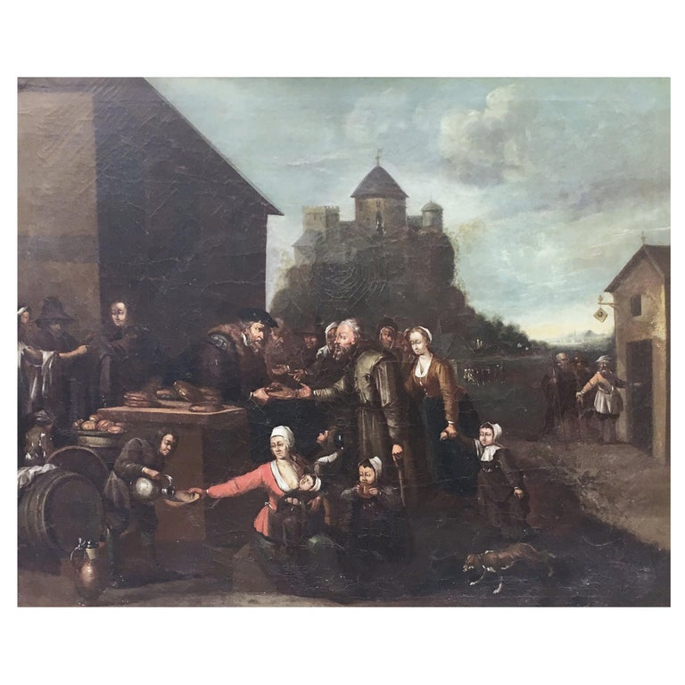 Mid-19th Century Dutch Oil on Canvas Painting Depicting a Charity Scene For Sale