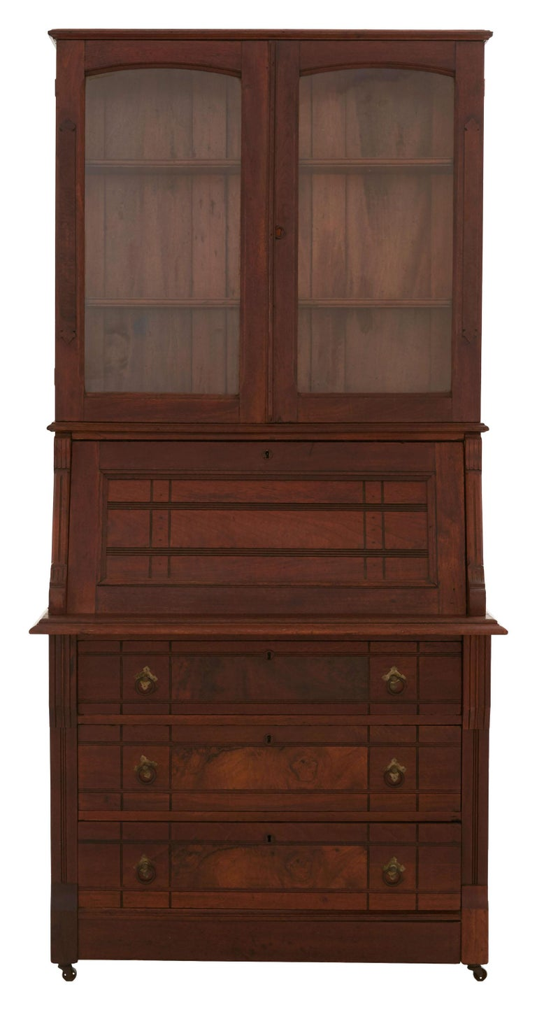 Hand-Carved Mid-19th Century Eastlake Secretaire Desk Cabinet For Sale