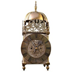 Mid-19th Century Eight Day Lantern Clock with a Double Fusee Striking Movement
