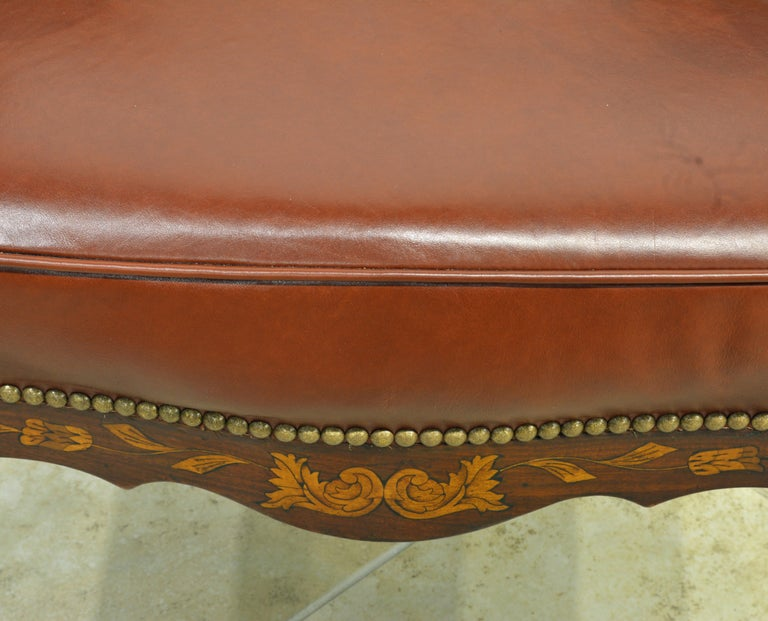 Mid-19th Century Elaborately Inlaid Dutch Colonial Leather Covered Armchair For Sale 6