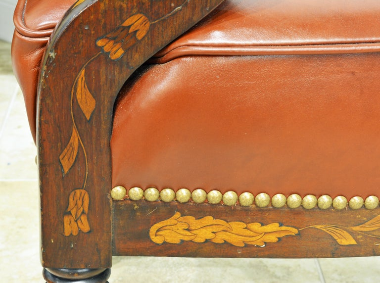 Mid-19th Century Elaborately Inlaid Dutch Colonial Leather Covered Armchair For Sale 9