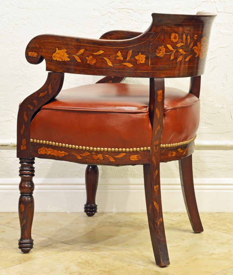 Inlay Mid-19th Century Elaborately Inlaid Dutch Colonial Leather Covered Armchair For Sale