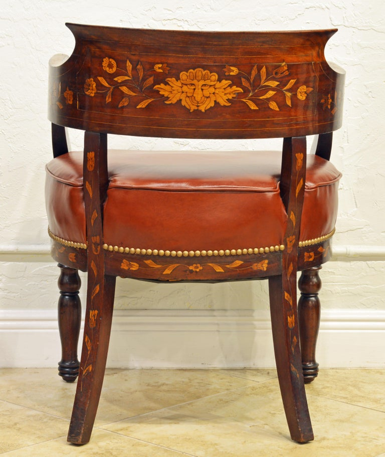 Mid-19th Century Elaborately Inlaid Dutch Colonial Leather Covered Armchair In Good Condition For Sale In Ft. Lauderdale, FL