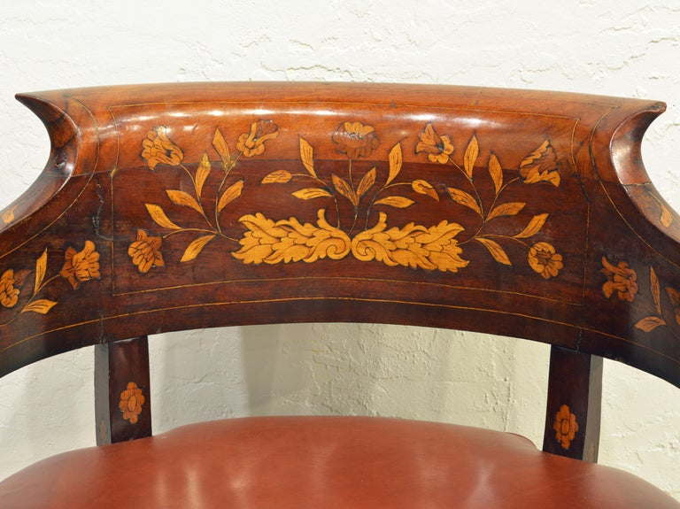 Brass Mid-19th Century Elaborately Inlaid Dutch Colonial Leather Covered Armchair For Sale