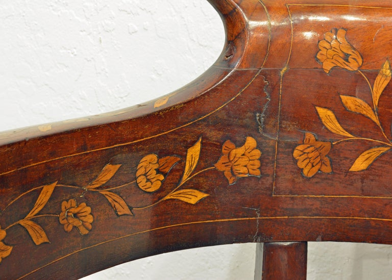 Mid-19th Century Elaborately Inlaid Dutch Colonial Leather Covered Armchair For Sale 2