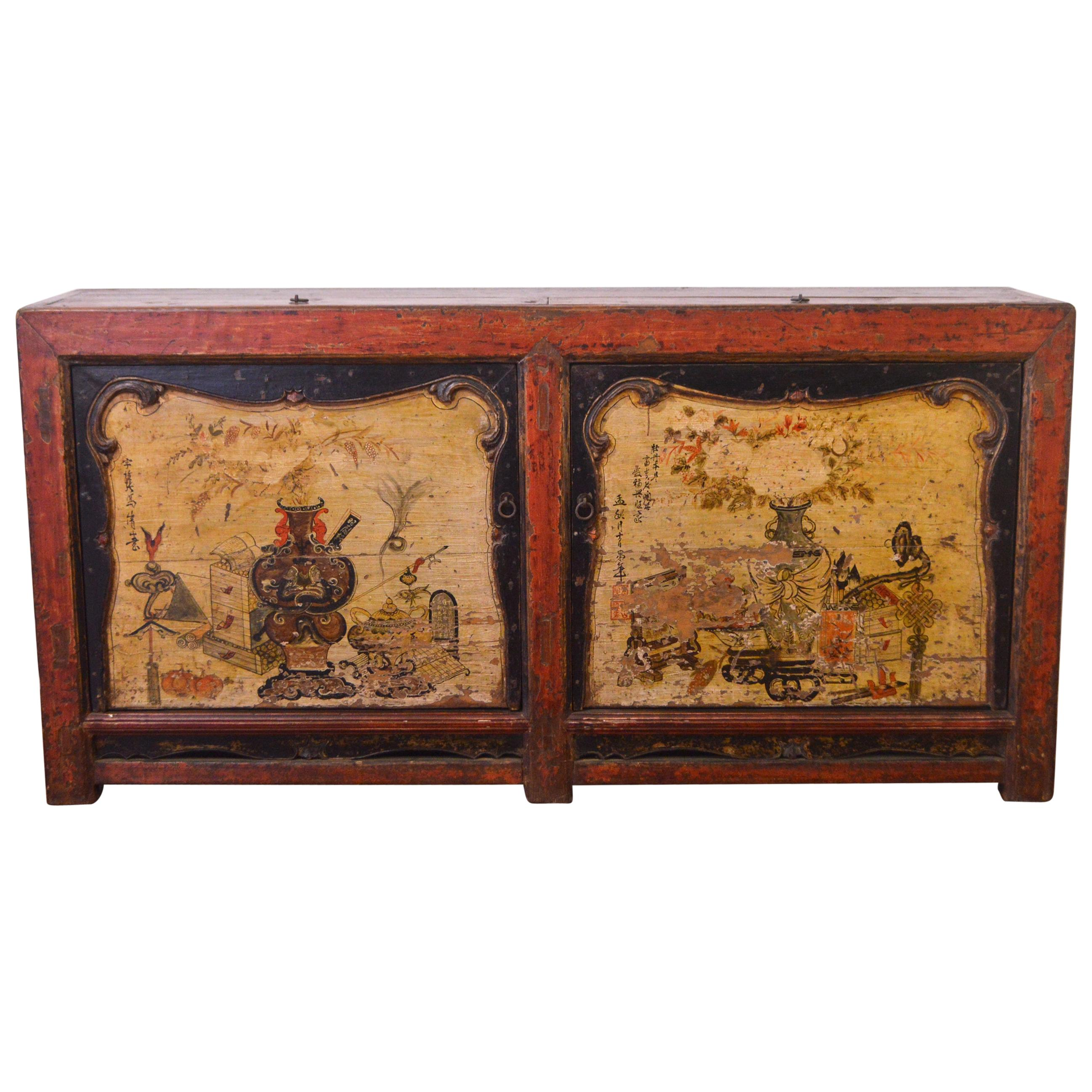 Mid-19th Century Elm Chinese Buffet Hand-Painted