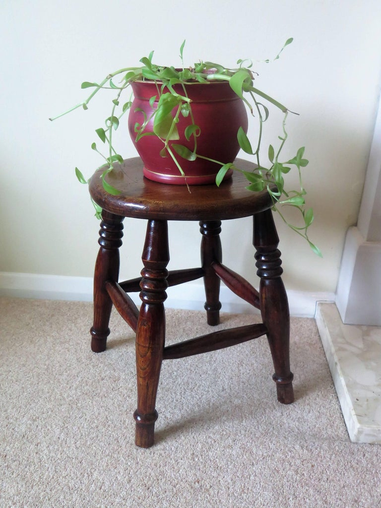 Mid-19th Century Elm Stool or Stand North East Yorkshire English Maker For Sale 14