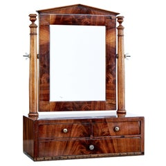 Mid 19th Century Empire Inlaid Mahogany Vanity Mirror