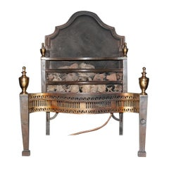 Mid-19th Century English Cast Iron, Steel and Brass Fireplace Insert