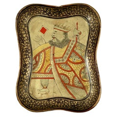 Mid-19th Century English Chinoiserie Lacquer Papier Mâché King Card Counter Tray