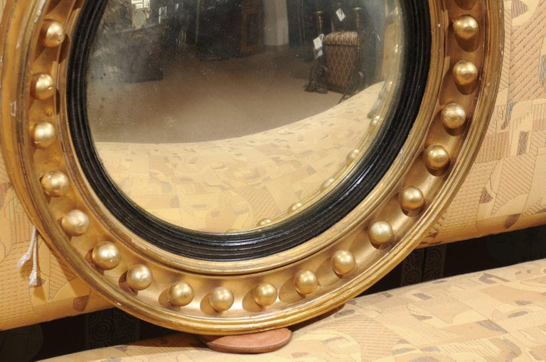 Mid-19th Century English Giltwood Bull's Eye Mirror with Convex Mirror For Sale 2