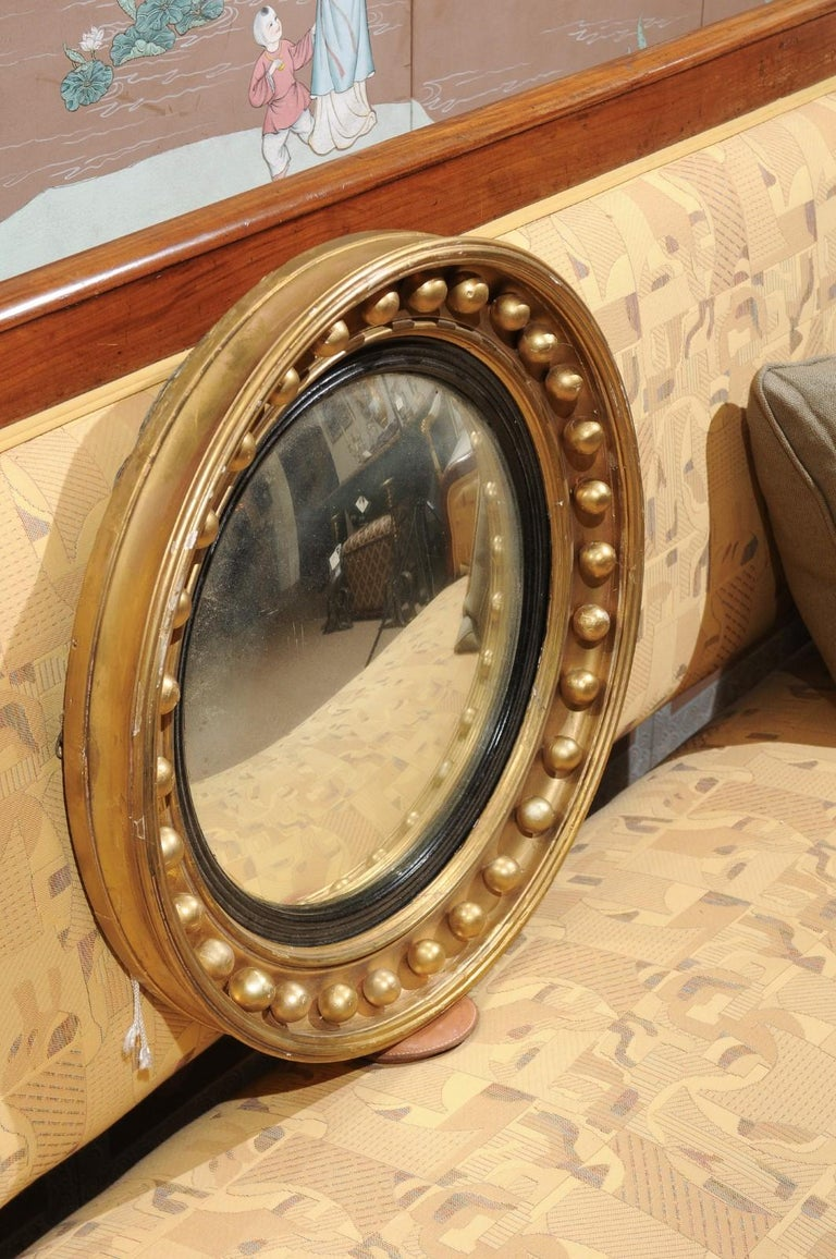 Mid-19th Century English Giltwood Bull's Eye Mirror with Convex Mirror For Sale 5
