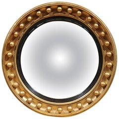 Mid-19th Century English Giltwood Bull's Eye Mirror with Convex Mirror