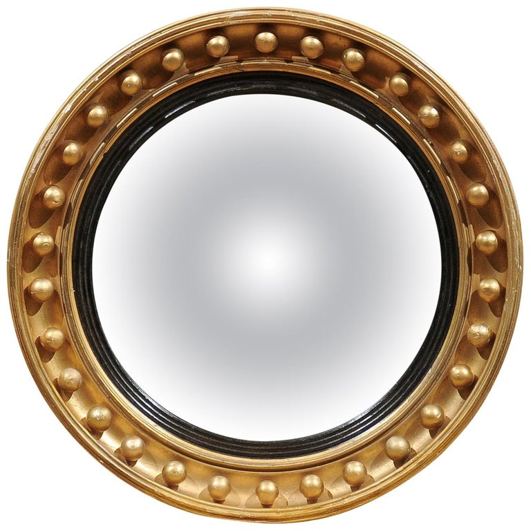 Mid-19th Century English Giltwood Bull's Eye Mirror with Convex Mirror For Sale