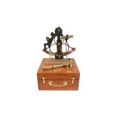 1850 Antique Nautical English Sextant of Burnished Brass with Mahogany Box UK