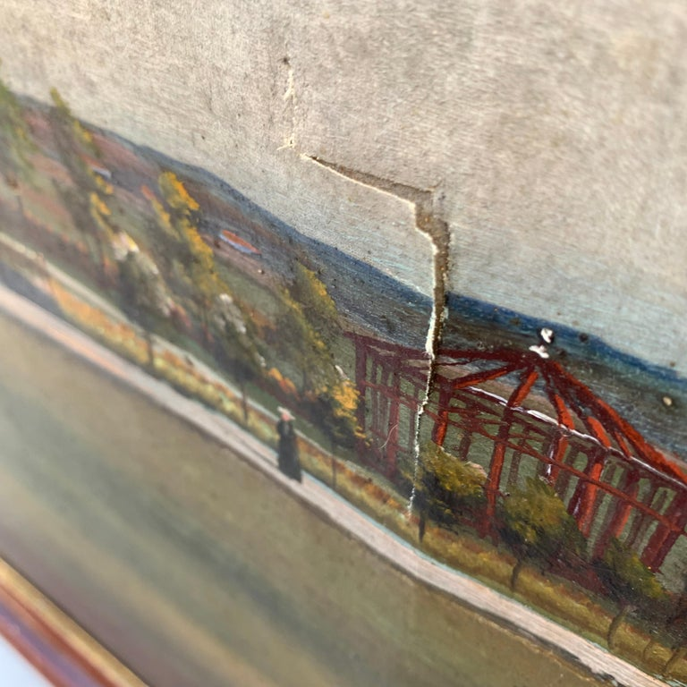 Mid-19th Century Fork Art Painting of a Swedish Farm For Sale 4
