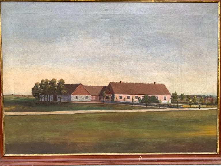 Oiled Mid-19th Century Fork Art Painting of a Swedish Farm For Sale