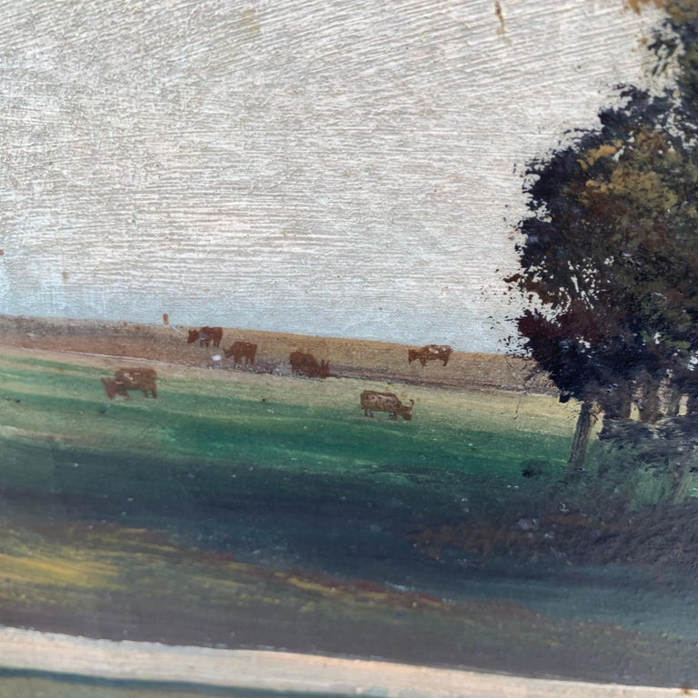 Late 19th Century Mid-19th Century Fork Art Painting of a Swedish Farm For Sale