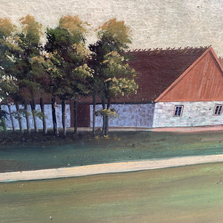 Canvas Mid-19th Century Fork Art Painting of a Swedish Farm For Sale