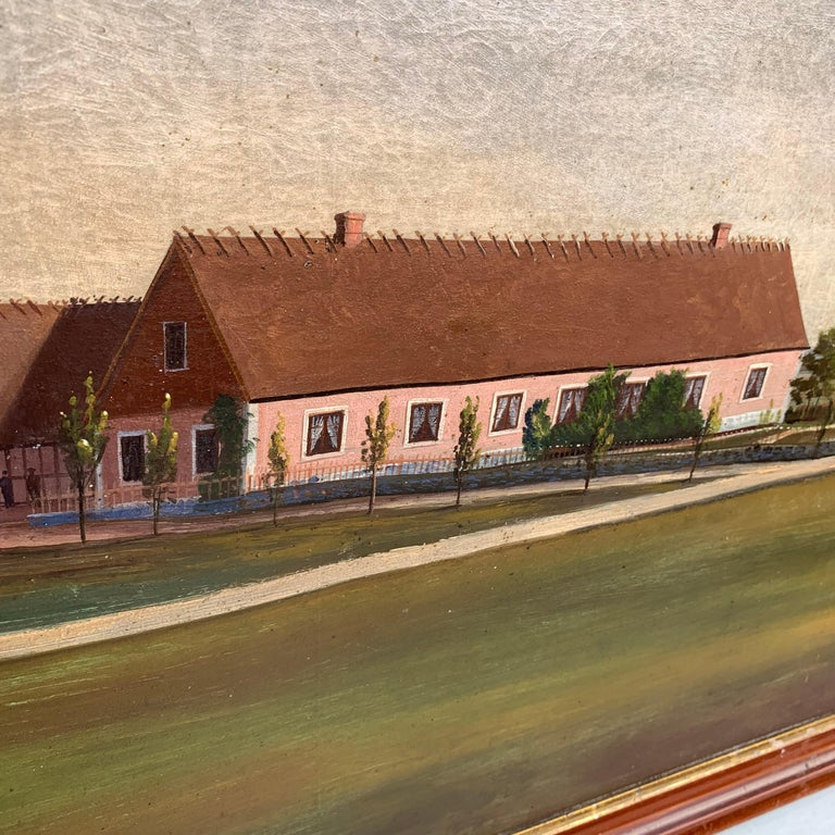 Mid-19th Century Fork Art Painting of a Swedish Farm For Sale 1