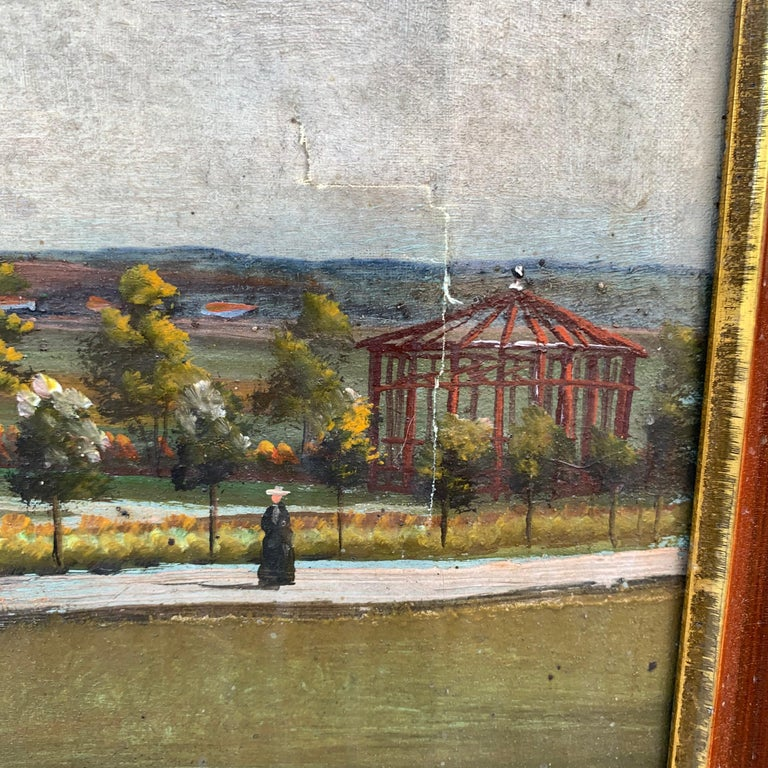 Mid-19th Century Fork Art Painting of a Swedish Farm For Sale 2