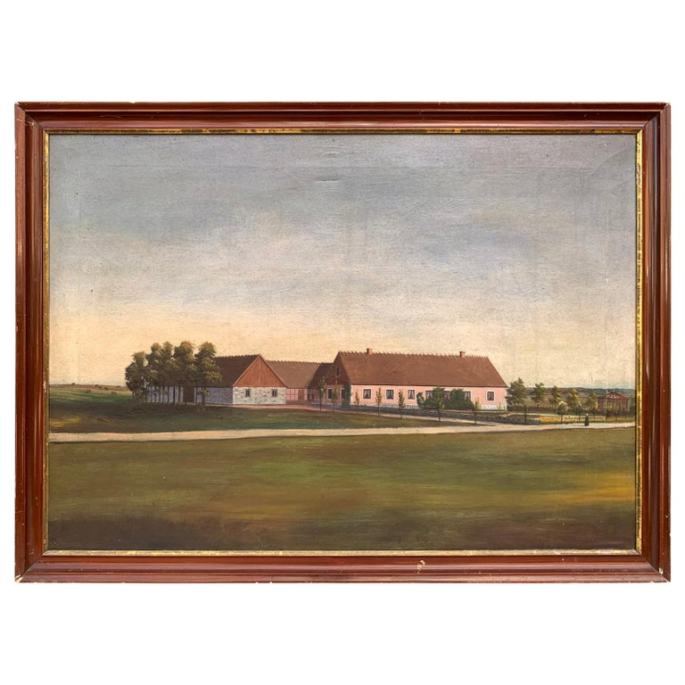 Mid-19th Century Fork Art Painting of a Swedish Farm For Sale