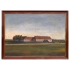 Mid-19th Century Fork Art Oil Painting of a Swedish Farm