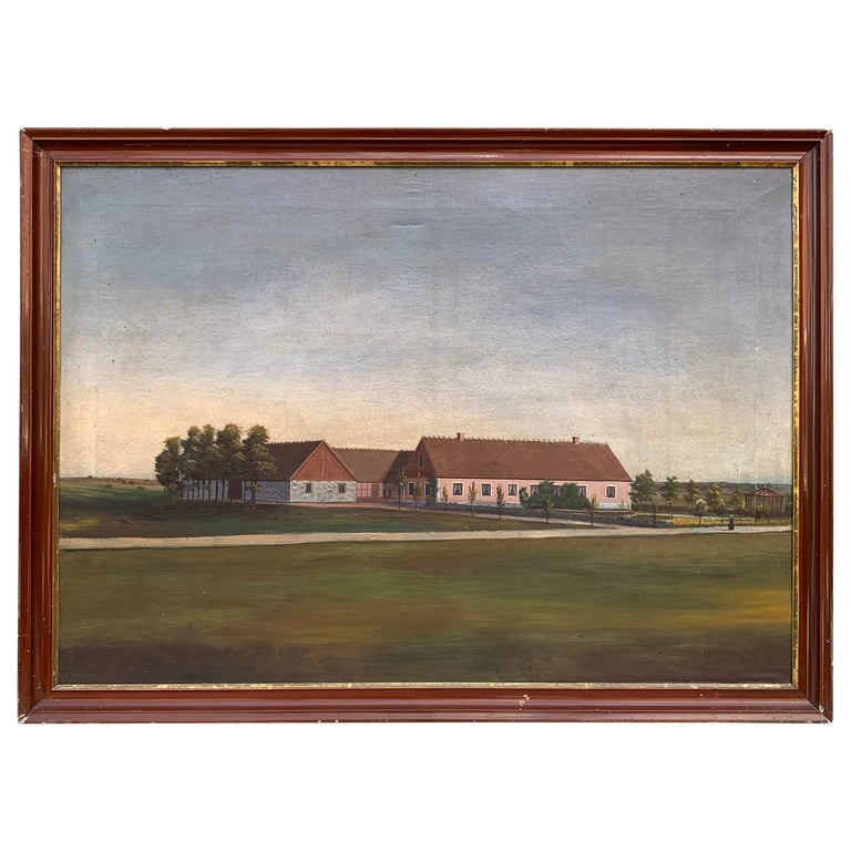 Mid-19th Century Fork Art Oil Painting of a Swedish Farm For Sale