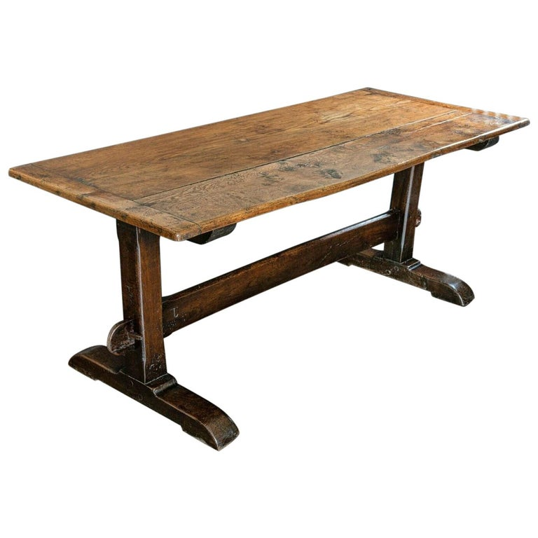 Mid-19th Century French 2 Plank Oak Trestle Table For Sale