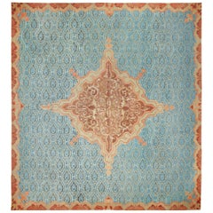 Antique Blue Mid 19th Century French Aubusson Carpet. Size: 15 ft 3 in x 17 ft