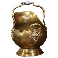 Mid-19th Century French Brass, Bronze and Porcelain Coal Bucket