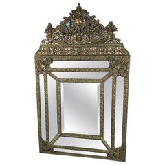 Mid-19th Century French Brass Repoussee Cushion Frame Mirror