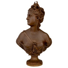 Mid-19th Century French Bronze Bust of 'Diana the Huntress' Signed Houdon