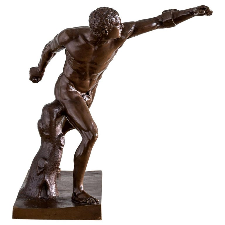 Mid-19th Century French Bronze Figure of the Borghese Gladiator For Sale