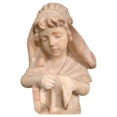 Mid-19th Century French Carved Beige Marble Bust Sculpture of Young Girl