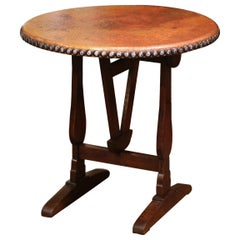 Mid-19th Century French Carved Oak and Copper Tilt-Top Wine Tasting Table
