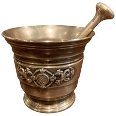 Mid-19th Century French Carved Patinated Bronze Mortar with Pestle