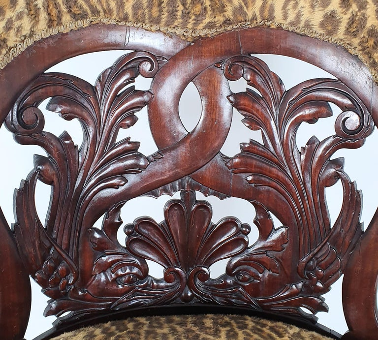Upholstery Mid-19th Century French Carved Walnut Desk Chair For Sale