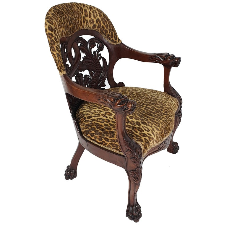 Mid-19th Century French Carved Walnut Desk Chair For Sale