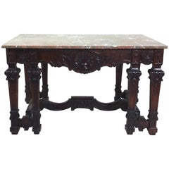 Mid-19th Century French Carved Walnut Provincial Centre Table