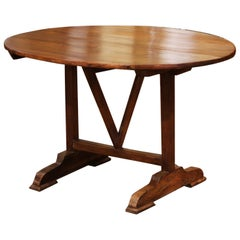 Mid-19th Century French Carved Walnut Tilt-Top Wine Tasting Table from Bordeaux
