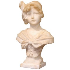 Mid-19th Century French Carved White Marble Bust Sculpture of Young Beauty
