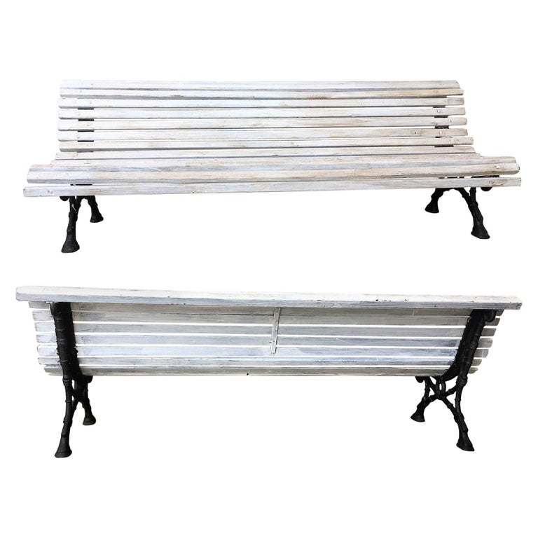Mid 19th Century French Cast Iron Pair Of Park Benches With Wood