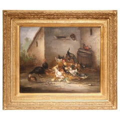 Mid-19th Century French Chicken Oil Painting in Gilt Frame Signed C. Guilleminet