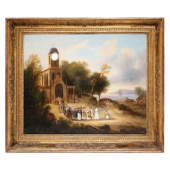Mid-19th Century French Church Oil Painting 'La Procession' in Carved Gilt Frame