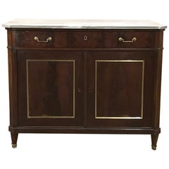 Mid-19th Century French Directoire Mahogany Marble Top Buffet