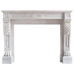 Mid-19th Century French Empire Carrara Marble Chimneypiece