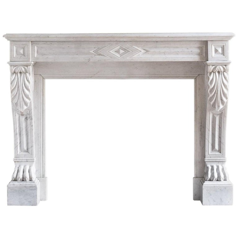 Mid-19th Century French Empire Carrara Marble Chimneypiece For Sale