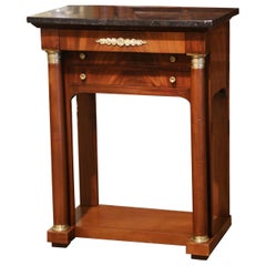 Mid-19th Century French Empire Mahogany and Marble Bedside Table with Drawers